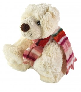 Doudou peluche Ours blanc Echarpe rose rayures Gipsy 20 cm