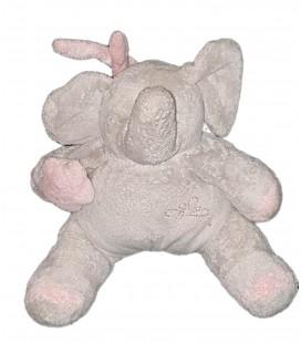 Peluche doudou Elephant gris etoile rose Playkids 22 cm