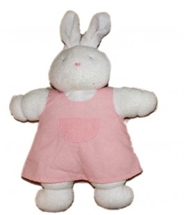 Peluche doudou Lapin blanc rose Klorane Tablier Robe 35 cm