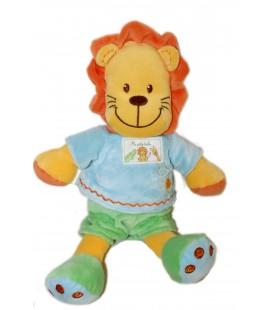 Doudou peluche Lion orange vert bleu MA PETITE TRIBU 30 cm