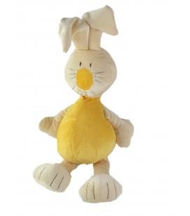 Doudou peluche Lapin jaune Babysun Grelot 42 cm