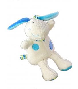 Doudou peluche Ane blanc bleu Babysun 20 cm Grelot cm