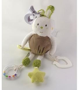 Doudou peluche Lapin d'activité maron blanc vert Babysun 30 cm Grelot