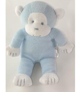 Peluche doudou singe bleu blanc Klorane 26 cm