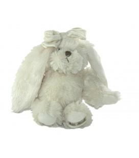 Peluche Lapin blanc noeud Louise Mansen 26 cm