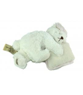 Peluche Ours blanc dormeur allonge Coussin 20 cm Louise Mansen