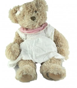 Peluche Ours beige robe blanche col rose 38 cm Louise Mansen