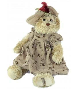 Peluche Ours beige robe Fleurs chapeau 38 cm Louise Mansen