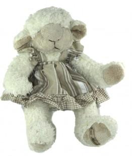 Peluche Mouton agneau blanc Robe beige 30 cm Louise Mansen