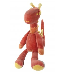 Doudou Dragon Dinosaure Girafe rouge orange Marese 30 cm