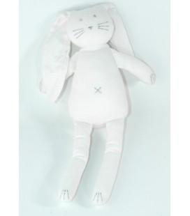 Doudou lapin blanc gris 26 cm PETIT BATEAU