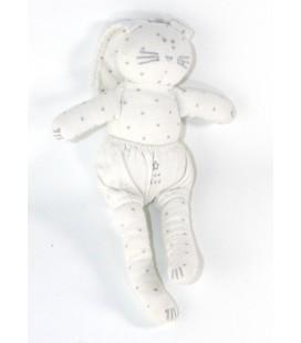 Doudou lapin blanc gris Etoiles Mon Reve 25 cm PETIT BATEAU