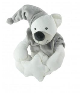 Peluche Musicale doudou OURS blanc gris beige Etoile Bout chou Monoprix 26 cm