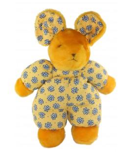 Peluche doudou Souris Jaune orange tissu imprime Fleurs bleues Nounours 36 cm