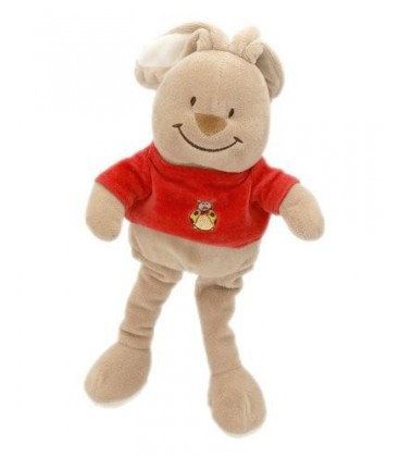 Doudou lapin beige pull t-shirt rouge BENGY - 32/44 cm - Coccinelle brodée