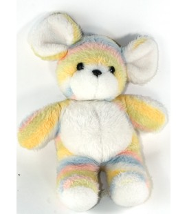 Peluche doudou Souris blanc jaune bleu rayures pastel 35 cm Nounours
