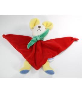 Doudou plat souris rouge triangle Grelot foulard vert Nounours