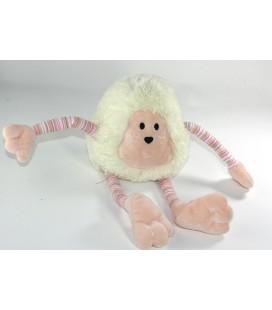 Doudou Peluche singe blanc rose jambes bras longs rayures 32 cm Nounours