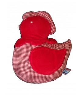 Doudou tissu poule rouge carreaux vichy 18 cm Sucre D Orge