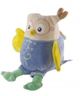 Peluche Doudou Hibou bleu beige jaune 28 cm Nounours