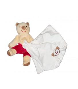 Doudou Koala Ours beige rouge Mouchoir blanc Cajou Sucre d Orge