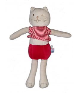 Peluche Doudou chat blanc rouge 30 cm Sucre d Orge