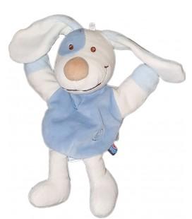 Peluche Doudou Marionnette chien bleu blanc Spirale 28 cm Sucre d Orge