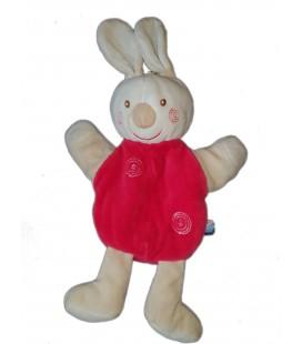 Doudou Marionnette Lapin blanc rouge Spirales 30 cm Sucre d Orge