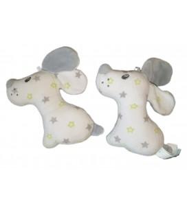 Doudou Plat chien gris blanc etoiles Sucre d Orge