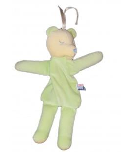 Doudou Ours vert jaune Fermeture Range Doudou 30 cm Sucre d Orge