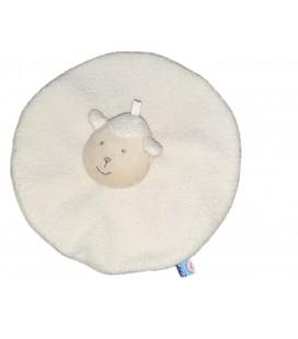 Doudou plat rond Mouton Agneau blanc Sucre d Orge