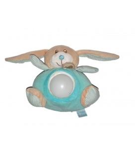 Doudou Peluche veilleuse Lapin bleu vert 16 cm BABY NAT NE FONCTIONNE PLUS