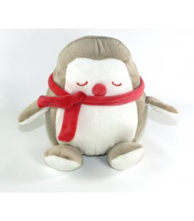 Doudou Pingouin gris blanc echarpe rose 18 cm OBAIBI
