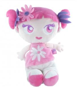 Peluche doudou Fille rose mauve fleur KMB Kimbaloo 32 cm