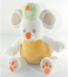 Peluche doudou Souris orange blanc vert chapeau 32 cm KIMBALOO