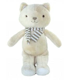 Peluche Doudou chat beige echarpe rayures marron blanc 28 cm SERGENT MAJOR