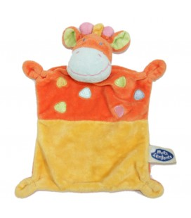 Doudou plat Girafe jaune orange Mots d Enfants