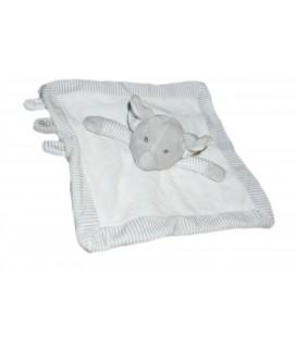 Doudou Elephant blanc gris rayures OBAIBI