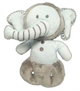Doudou Hochet Elephant bleu gris 16 cm OBAIBI
