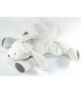 Doudou Chien blanc gris pois 25 cm OBAIBI