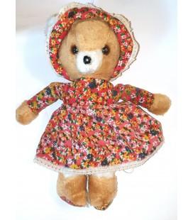 Vintage Ancienne Peluche Ours marron robe Bonnet Tissu fleuri 30 cm