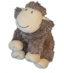 Peluche doudou Agneau Mouton marron longs poils fourrure 25 cm Nature et Decouvertes