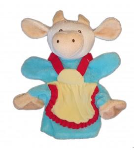 Doudou Marionnette Vache bleue jaune beige 28 cm Nounours