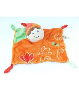 Doudou plat Lutin orange vert Papillon Baby Luna