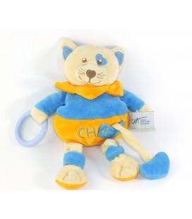 Doudou Chat bleu orange CHA Centre Hospitalier Auxerre Grelot Coeur Baby Nat