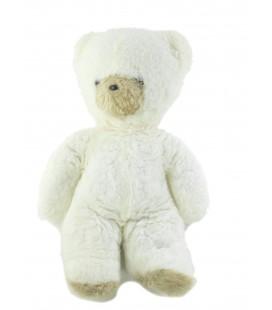 Ancienne peluche Ours blanc beige nez noir Style Boulgom Nounours 32 cm
