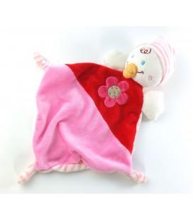 Doudou plat Canard oiseau rose rouge Fleur Nicotoy