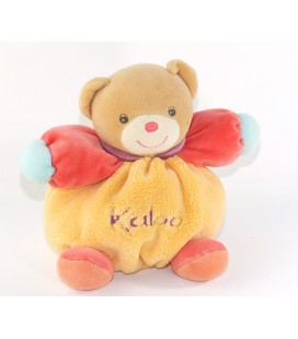 Doudou Lapin Kaloo orange rouge col mauve 17 cm