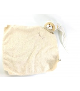 Doudou plat Ours beige blanc Mouchoir Col vichy Baby Nat
