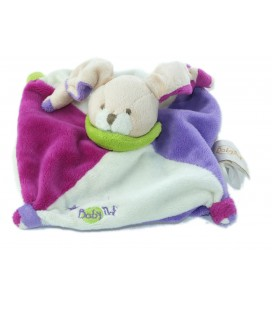 Mini Doudou Acidule plat Lapin Etoiles violet blanc fushia Col vert Baby Nat